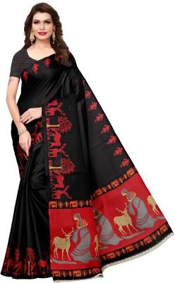 MISILY Self Design Kalamkari Cotton Blend, Poly Silk Saree(Black)