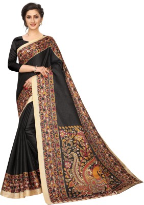 MISILY Printed Fashion Art Silk Saree(Black)