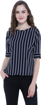 K And Designs Formal Half Sleeve Striped Women Multicolor Top