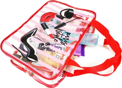 FORE TREND Women transparent makeup Bags Travel Toiletry Kit Red