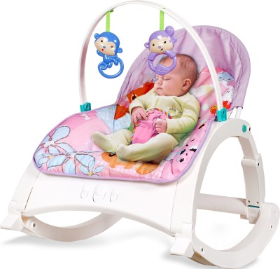 LuvLap Springtime Fun Newborn to Toddler Rocker Bouncer turn Recline Chair Rocker(Pink, White)
