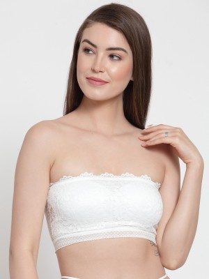 PrettyCat PrettyCat Strapless Back-Strings Fashion Bra Women Tube Lightly Padded Bra(White)