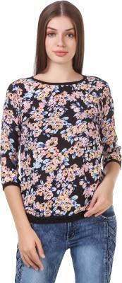 Delux Look Casual 3/4 Sleeve Printed Women Black Top