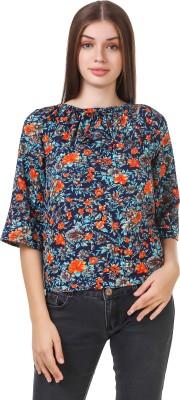 Delux Look Casual 3/4 Sleeve Printed Women Blue Top Delux Look Women's Tops