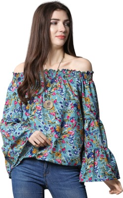 Oomph! Casual Bell Sleeve Printed Women Blue Top