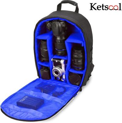 Ketsaal Shoulder Backpack to Carry DSLR SLR Lens Camera Bag (Blue, Black) Camera Bag(Black, Blue)