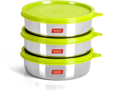 Sumeet Stainless Steel Airtight & Leak Proof Food Storage Containers Set of 3 Pc (Size - Small, Capacity - 300ml Each) 3 Containers Lunch Box(350 ml)