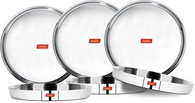 Sumeet 22 Gauge Stainless Steel Traditional Dinner Plate / Thali 25.8Cm (1.5Ltr) - set of 6pc Dinner Plate(6 Dinner Plate)