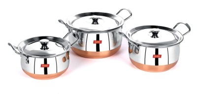 Sumeet Stainless Steel with Copper Bottom Cook and Serve Essential Handi with Lid - Set of 3 Pcs (1.1 LTR, 1.6 LTR, 2.1 LTR) Handi 2.1 L with Lid(Stainless Steel)