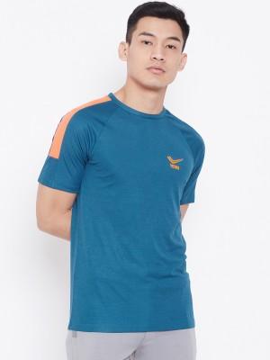Yuuki Solid Men Round Neck Blue T-Shirt