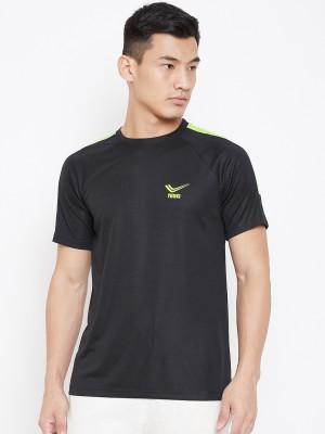 YUUKI Solid Men Round Neck Black T-Shirt