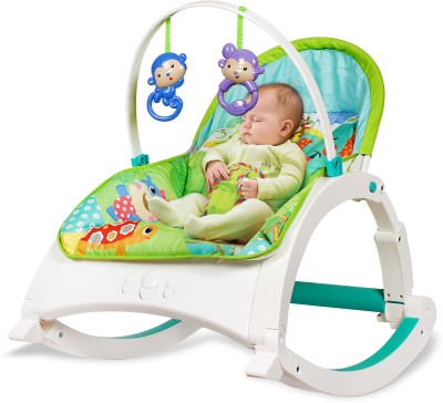 LuvLap Jungle Quest Newborn to Toddler Rocker Bouncer turn Recline Chair Rocker(Green)