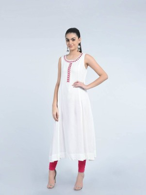Rubellite Women Solid Flared Kurta(White)