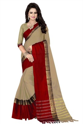 Awesome Woven Coimbatore Cotton Silk Saree(Beige, Red)