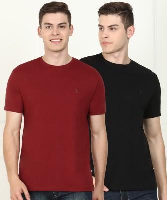 Billion Solid Men V Neck Maroon, Black T-Shirt(Pack of 2)
