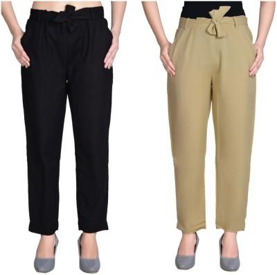 Aawari Regular Fit Women Black, Beige Trousers