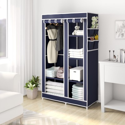 Flipkart Perfect Homes Studio 2 Door 6 Shelf PP Collapsible Wardrobe(Finish Color - Blue)