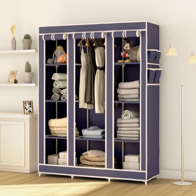 Flipkart Perfect Homes Studio 3 Door 10 Shelf PP Collapsible Wardrobe(Finish Color - Blue)