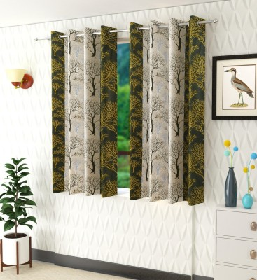 Panipat Textile Hub 152 cm (5 ft) Polyester Window Curtain (Pack Of 2)(Floral, Green)