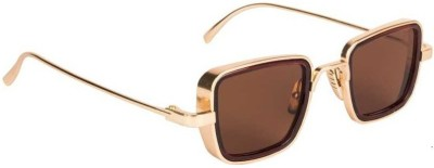 TheWhoop Rectangular Sunglasses(Brown, Golden)