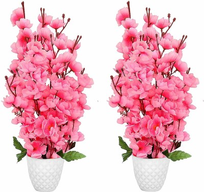 florakite Pink Cherry Blossom Artificial Flower  with Pot(17 inch, Pack of 2)