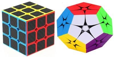 Toy Arena Cube Combo 2x2 Megaminx stickerless Magic Cube 3X3 Carbon Fibre Cubee (NEON)(2 Pieces)