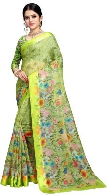 Jay Fashion Floral Print Banarasi Cotton Silk Saree Multicolor