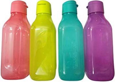 Tupperware Square Fliptop 1 Litre Water Bottle 4000 ml Bottle(Pack of 4, Multicolor, Plastic)
