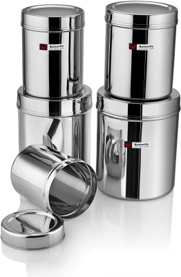 Butterfly DEEP DUBBA SET ( NO.1 - 5)  - 6 L Steel Grocery Container(Pack of 5, Silver)