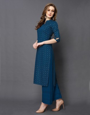 Saara Women Checkered Straight Kurta(Dark Blue)