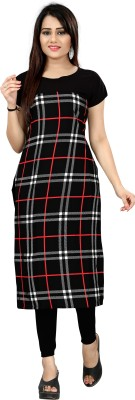 New Ethnic 4 You Women Checkered Straight Kurta(Multicolor)