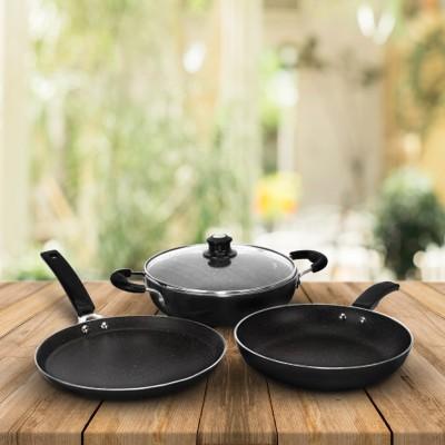 Flipkart SmartBuy Induction Bottom Splatter Finish Cookware Set of 3(Aluminium, 3 -...