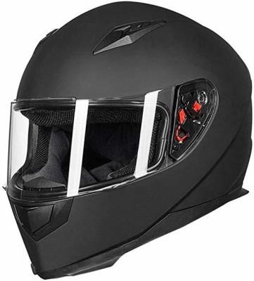 ILM Full Face Motorcycle Street Bike Helmet with Removable Winter Neck Scarf + 2 Vis Motorbike Helmet(Black)