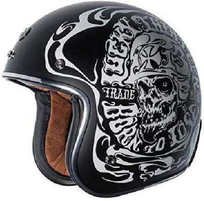 Torc T50 Route 66 Smoke Skull Lucky 13 Open Face Helmet (Flat Black, Large) -- multi Motorbike Helmet(Black)