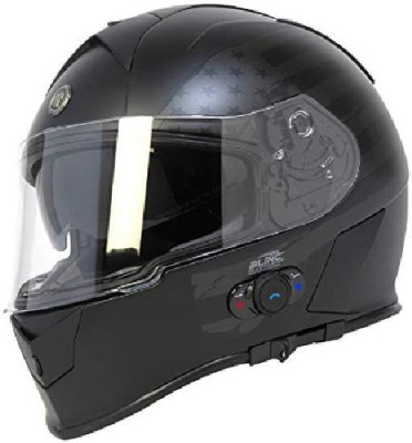 TORC T14B Bluetooth Integrated Mako Full Face Helmet with Flag Graphic (Flat Black Motorbike Helmet(Black)