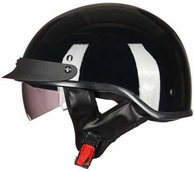ILM Upgraded Motorcycle Half Helmet With Integrated Sun Visor Quick Release Buckle DO Motorbike Helmet(Black)