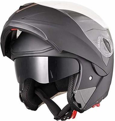Yescom Full Face Flip up Modular Motorcycle Helmet Dot Approved Dual Visor Motocross (Ma Motorbike Helmet(Black)