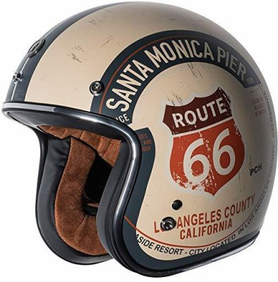Torc unisex-adult open-face-helmet-style T50 Route 66 3/4 Helmet (with 'PCH' Graphic) Motorbike Helmet(White)