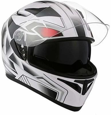 1Storm Motorcycle Street Bike Dual Visor/Sun Visor Full Face Helmet Panther White, Motorbike Helmet(White)