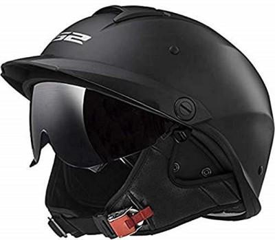 LS2 Helmets Rebellion Unisex-Adult Half Helmet Motorcycle Helmet (Matte Black, Medium Motorbike Helmet(Black)