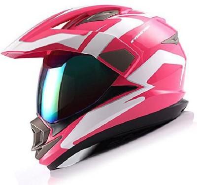 1Storm Dual Sport Helmet Motorcycle Full Face Motocross Off Road Bike Racing Pink White [ Motorbike Helmet(Multicolor)