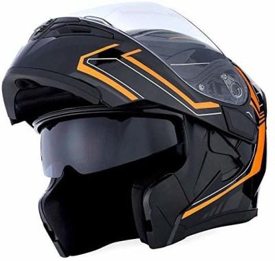 1Storm Motorcycle Modular Full Face Helmet Flip up Dual Visor Sun Shield: HB89 Arrow Ora Motorbike Helmet(Orange)
