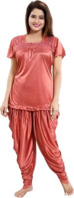 Deepsales Women Solid Brown Night Suit Set