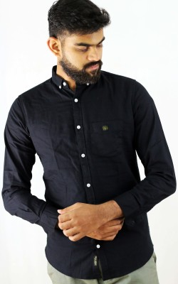 Indi Hemp Men Solid Casual Black Shirt
