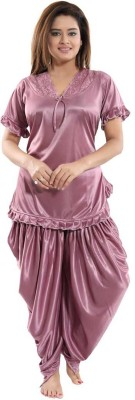 Deepsales Women Solid Purple Night Suit Set