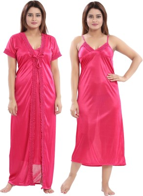 Shopping Station Women Nighty Set(Pink)