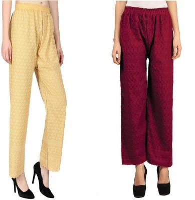 Rzlecort Regular Fit Women Purple, Beige Trousers