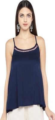 Globus Casual Sleeveless Solid Women Blue Top