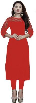 KROOZ Women Solid Straight Kurta(Red)