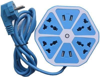 Saleshop365 USB Hexagon Socket Extension board And Surge Protector 4 Socket Extension Boards Blue